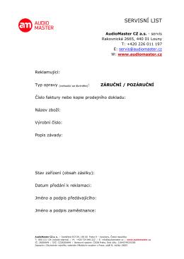servisní list - AudioMaster CZ a.s