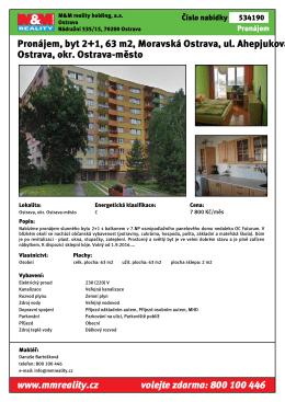 Pronájem, byt 2+1, 63 m2, Moravská Ostrava, ul. Ahepjukova