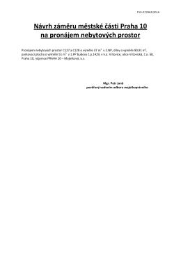 Návrh záměru městské části Praha 10 na pronájem nebytových