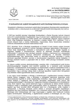 A bankszektornak nyújtott támogatásokról szóló - curia