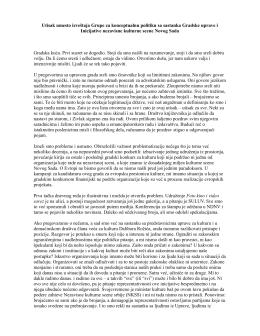 Utisak umesto izveštaja Grupe za konceptualnu politiku sa