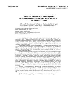 analiza vrednosti parametara oksidativnog stresa u pljuvački dece