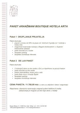 PAKET ARANŽMANI BOUTIQUE HOTELA ARTA Paket 1