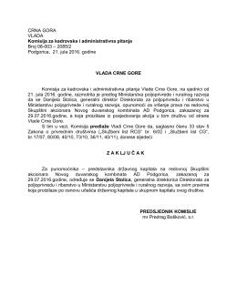 2085/2 Podgorica, 21. jula 2016. godine VLADA C