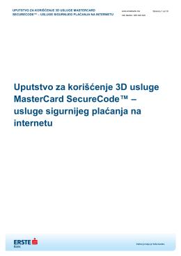 Uputstvo za korišćenje 3D usluge MasterCard SecureCode