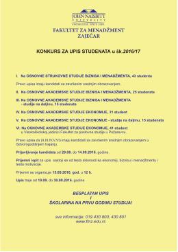 Konkurs septembar OSNOVNE STUDIJE