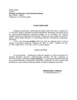 08-003 – 2086/2 Podgorica, 21. jula 2016