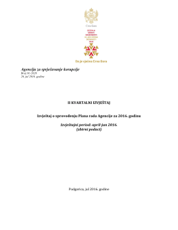 Izvještaj o radu Agencije za sprječavanje korupcije II kvartal 2016.