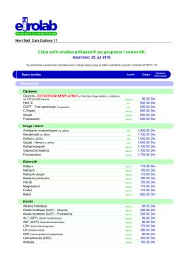 Cenovnik u PDF formatu