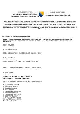 preliminarni pregled ovjerenih kandidacijskih listi i