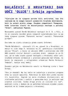BALAŠEVIĆ U HRVATSKOJ DAN UOČI `OLUJE`! Srbija