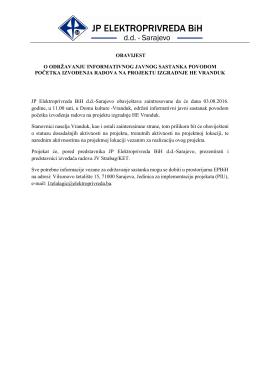 Obavijest o održavanju javnog sastanka HE Vranduk_PM
