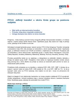 FIT2.0: Jeftiniji transferi u okviru Erste grupe za poslovne subjekte