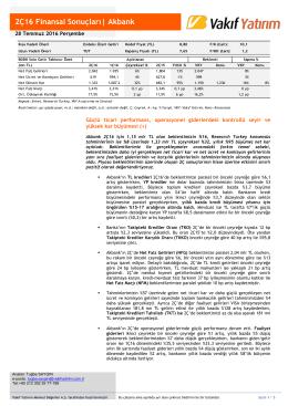 2Ç16 Finansal Sonuçları| Akbank