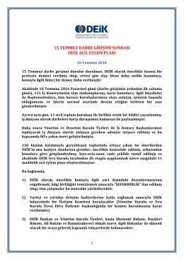 DEİK İstişare 26.07.16 Acil Eylem Planı Final
