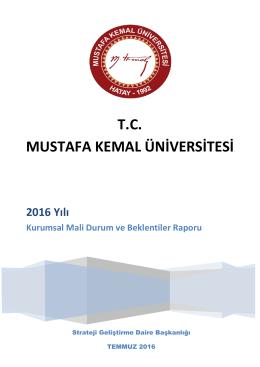 2016 Yılı - Mustafa Kemal Üniversitesi