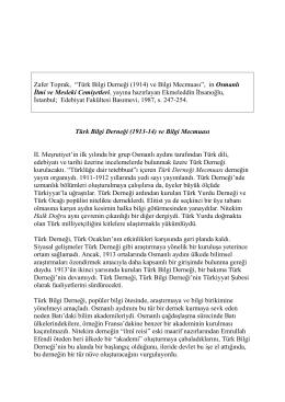 T  rk Bilgi Derne  i (1914) ve Bilgi Mecmuas