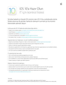 iOS 10`a Hazır Olun IT için kontrol listesi
