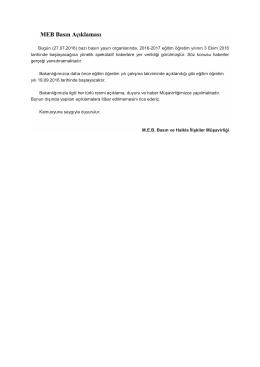 MEB Basın Açıklaması