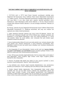 29.07.2016 TARİHLİ ADLİ YARGI CUMHURİYET SAVCILIĞI