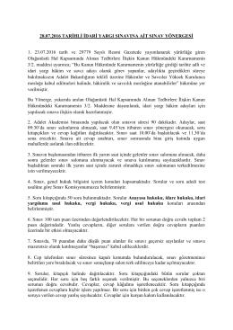 28.07.2016 TARİHLİ İDARİ YARGI SINAVINA AİT SINAV