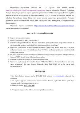 Basvuru adresi ve belgeler 2016