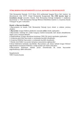 Türk Dermatoloji Derneği Ulusal Kongre Katılım Desteği