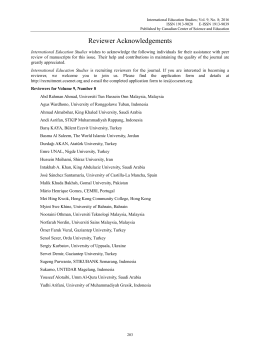 Reviewer Acknowledgements - Canadian Center of Science and