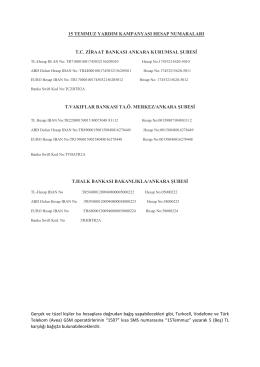 15 temmuz yardım kampanyası hesap numaraları tc ziraat bankası