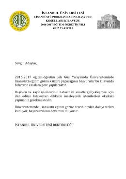 Sevgili Adaylar, 2016-2017 eğitim-öğretim yılı Güz Yarıyılında