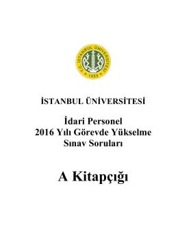 A Kitapçığı - İstanbul Üniversitesi