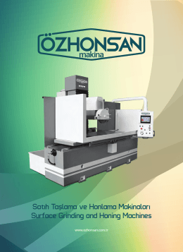 Satıh Taslama ve Honlama Makinaları Surface Grinding and Honing