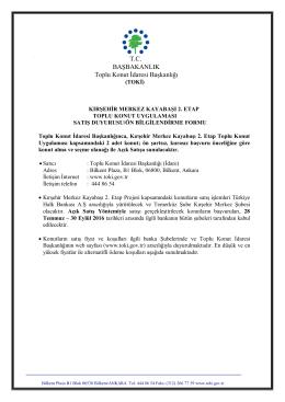 TC BAŞBAKANLIK Toplu Konut İdaresi Başkanlığı