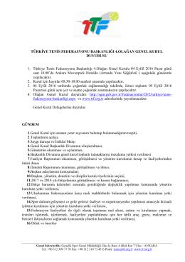 duyuru - Türkiye Tenis Federasyonu