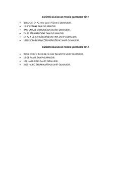 DİZÜSTÜ BİLGİSAYAR TEKNİK ŞARTNAME TİP 2 • İŞLEMCİSİ EN
