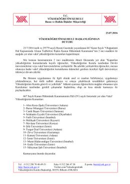 667 Sayılı KHK Hk. - Yükseköğretim Kurulu