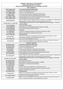 2016-2017 Eğitim-Öğretim Yılı Eğitim Bilimleri Enstitüsü Akademik