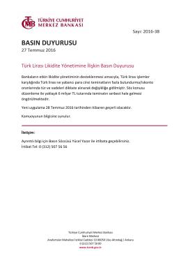 Türk Lirası Likidite Yönetimine İlişkin Basın Duyurusu - 27