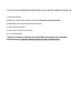 2. SINAVI KAZANAN ÖĞRENCİLERİN KESİN KAYITLARI İÇİN