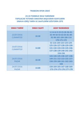 trabzon spor lisesi 23-24 temmuz 2016 tarihinde yapılacak yetenek