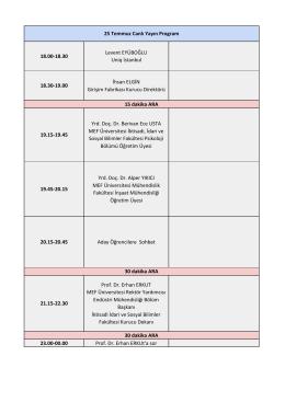 25 Temmuz Program - MEF Üniversitesi