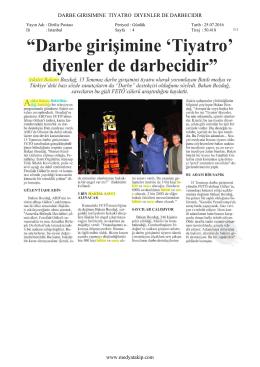 DARBE GIRISIMINE TIYATRO DIYENLER DE DARBECIDIR www