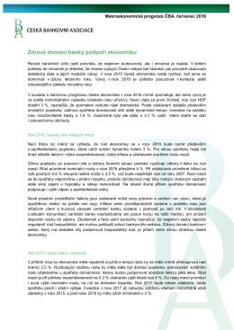 ČBA ekonomická prognóza - Česká bankovní asociace