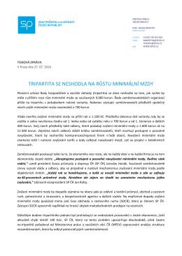 tiskové zprávě. - Svaz průmyslu a dopravy České Republiky