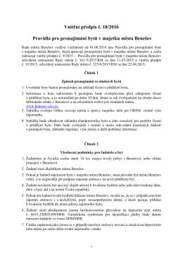 Pravidla pro pronajímaní bytů v majetku města