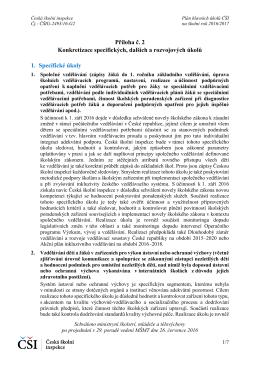 Konkretizace specifických, dalších a rozvojových úkolů na školní rok