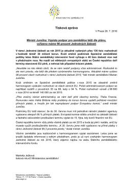 Ministr Jurečka: Výplata podpor pro zemědělce běží dle plánu