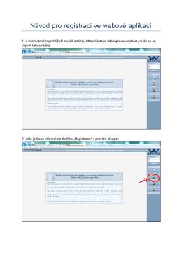 Návod pro registraci ve webové aplikaci