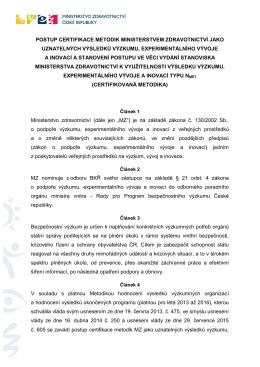 postup certifikace metodik ministerstvem zdravotnictví jako