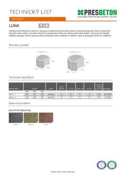 Rozměry výrobků Technické specifikace Barevné